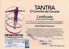 Certificado do Centro Metamorfose para Curso de Massagem Tântrica